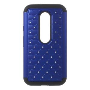 For Motorola Moto G 3rd Gen XT1541 XT1543 Rhinestone Starry Sky Silicone + PC Case - Blue / Black