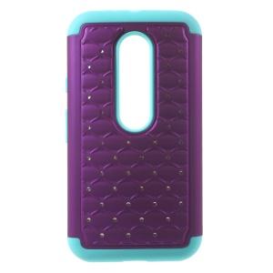 For Motorola Moto G 3rd Gen XT1541 XT1543 Rhinestone Starry Sky 2-in-1 Hybrid Case - Purple / Blue