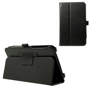 Folio Lychee Texture Leather Stand Case for ASUS MeMO Pad 7 ME70CX - Black