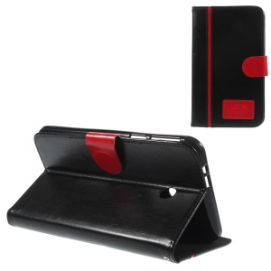 Two-color Crazy Horse Leather Stand Case w/ Card Slots for Asus Fonepad 7 FE170CG - Red / Black