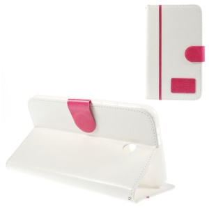 Two-color Crazy Horse Leather Stand Cover w/ Card Slots for Asus Fonepad 7 FE170CG - Rose / White