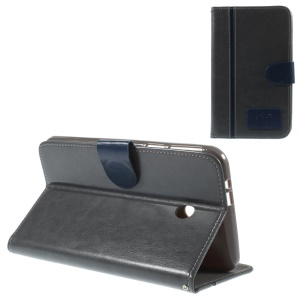 Two-color Crazy Horse Stand Leather Case w/ Card Slots for Asus Fonepad 7 FE170CG - Dark Blue / Black