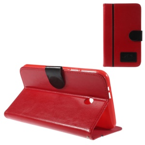 Two-color Crazy Horse Stand Leather Cover w/ Card Slots for Asus Fonepad 7 FE170CG - Black / Red