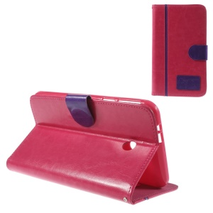 Two-color Crazy Horse Leather Stand Cover w/ Card Slots for Asus Fonepad 7 FE170CG - Purple / Rose
