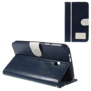 Two-color Crazy Horse Leather Stand Cover w/ Card Slots for Asus Fonepad 7 FE170CG - White / Dark Blue