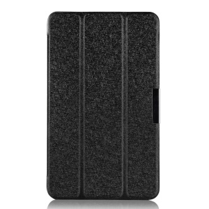 Tri-fold Silk Texture Smart Leather Stand Case for ASUS MeMO Pad 8 ME181C - Black