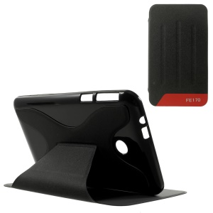 Sands Grain Stand Leather Cover for Asus Fonepad 7 FE170CG - Black