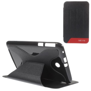 X-Shape for Asus MeMO Pad 7 ME176C Sand-like Texture Leather Stand Cover - Black