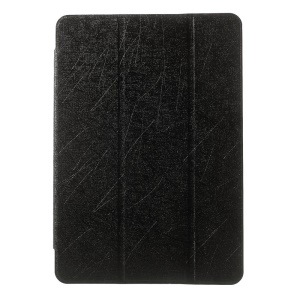 Silk Texture Tri-fold Stand Leather Case for ASUS Transformer Pad TF103C TF0310C - Black