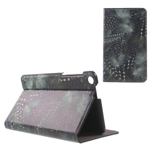 Patterned Stand Leather Case for ASUS Fonepad 7 (FE171CG) - White Dots Feather