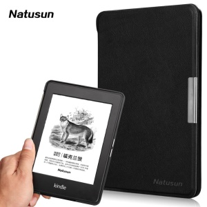 Natusun Perfection Series Magnetic Leather Smart Case for Amazon Kindle Paperwhite - Black