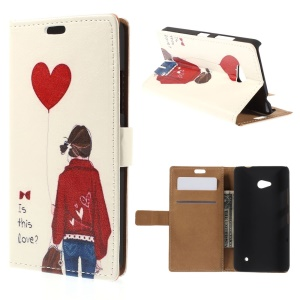 Leather Wallet Stand Case for Microsoft Lumia 640 Dual SIM / 640 LTE - Girl Holding Balloon
