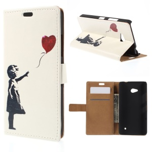 Leather Wallet Case for Microsoft Lumia 640 Dual SIM / 640 LTE - Girl Releasing Balloon