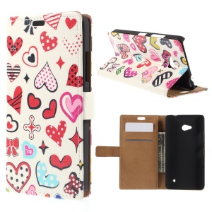 Leather Wallet Case for Microsoft Lumia 640 Dual SIM / 640 LTE - Colorful Hearts