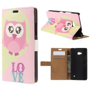 Pink Owl Leather Wallet Cover for Microsoft Lumia 640 Dual SIM / 640 LTE