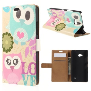 Owls and Love Leather Bracket Cover for Microsoft Lumia 640 Dual SIM / 640 LTE