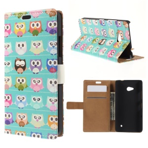 Multiple Owls Leather Stand Shell for Microsoft Lumia 640 Dual SIM / 640 LTE - Cyan Background