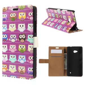 Multiple Owls Leather Stand Shell for Microsoft Lumia 640 Dual SIM / 640 LTE - Purple Background