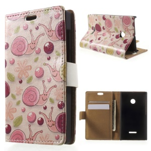 For Microsoft Lumia 435 / Dual Leather Case with Card Slots - Cartoon Snails Pink Background