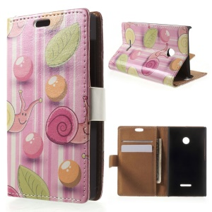 For Microsoft Lumia 435 / Dual Leather Flip Case with Stand - Cartoon Snails Pink Stripes