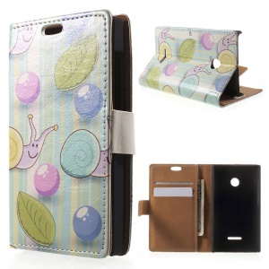For Microsoft Lumia 435 / Dual Magnetic Leather Case with Stand - Cartoon Snails Blue Stripes