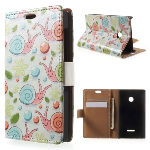 For Microsoft Lumia 435 / Dual Wallet Leather Case with Stand - Cartoon Snails White Background
