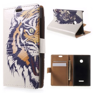 For Microsoft Lumia 435 / Dual Stand Leather Cover Card Holder - Tiger Head