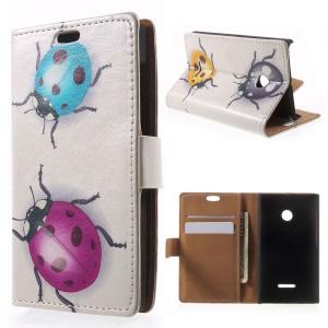 For Microsoft Lumia 435 / Dual Folio Flip Leather Cover Card Holder - Colored Ladybugs