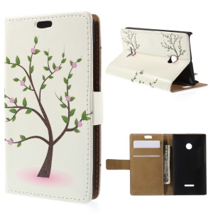 Illustration Pattern Leather Case for Microsoft Lumia 435 / Dual Sim with Stand - Tree with Flowers