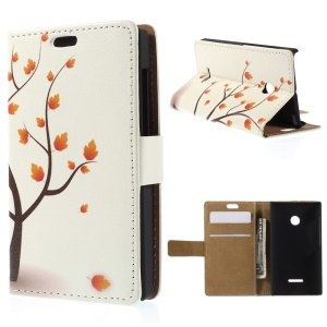 Illustration Pattern Leather Cover for Microsoft Lumia 435 / Dual Sim with Stand - Autumn Maple Tree