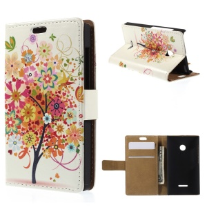 Illustration Pattern Wallet Leather Stand Case for Microsoft Lumia 435 / Dual Sim - Colorful Flower Tree