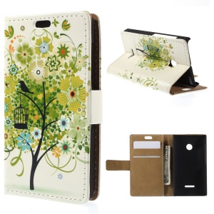 Illustration Pattern Wallet Leather Stand Cover for Microsoft Lumia 435 / Dual Sim - Green Flower Tree