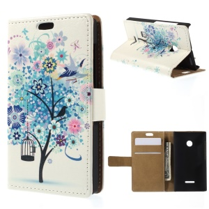 Illustration Pattern Leather Card Holder Cover for Microsoft Lumia 435 / Dual Sim - Blue Flower Tree