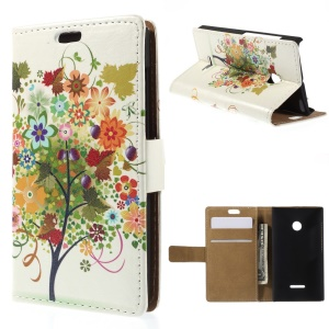 Illustration Pattern Leather Cover for Microsoft Lumia 435 / Dual Sim with Stand - Colorized Fruit Tree