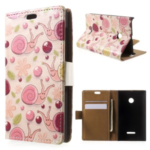 Snails and Flowers Leather Wallet Case for Microsoft Lumia 532/532 Dual SIM - Pink Background