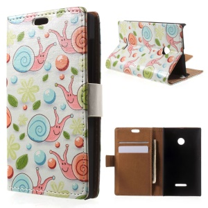 Snails and Flowers Leather Wallet Cover for Microsoft Lumia 532/532 Dual SIM - White Background