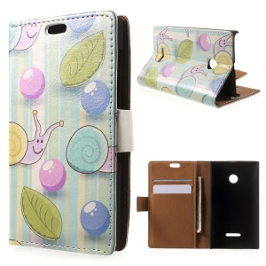 Snails and Stripes Leather Wallet Shell for Microsoft Lumia 532/532 Dual SIM - Cyan Background