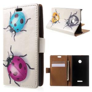 Colorized Ladybugs Flip Leather Card Holder Shell for Microsoft Lumia 532/532 Dual SIM
