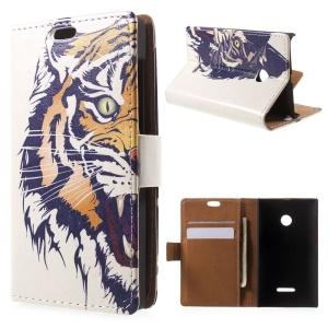 Tiger Head Flip Leather Card Holder Shell for Microsoft Lumia 532/532 Dual SIM