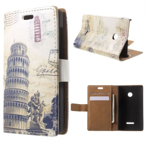 Leaning Tower of Pisa Leather Case for Microsoft Lumia 535 / 535 Dual SIM Wallet Style