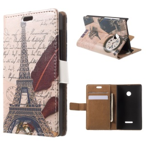 Eiffel Tower and Quill Pen Leather Case for Microsoft Lumia 535 / 535 Dual SIM Wallet Style