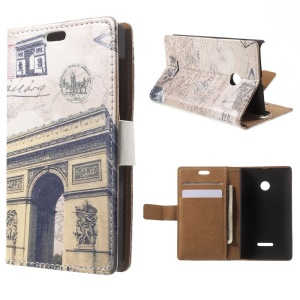Triumphal Arch and Map Leather Wallet Cover for Microsoft Lumia 535 / 535 Dual SIM