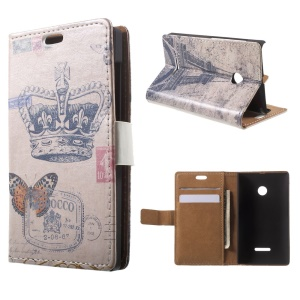 Crown and Eiffel Tower Leather Card Holder Cover for Microsoft Lumia 535 / 535 Dual SIM