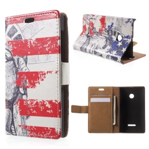 Statue of Liberty Leather Wallet Stand Shell for Microsoft Lumia 535 / 535 Dual SIM