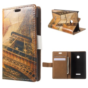 Eiffel Tower and Maple Leaves Leather Wallet Case for Microsoft Lumia 535 / 535 Dual SIM