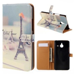 Wallet Leather Stand Case Cover for Microsoft Lumia 640 XL / Dual SIM - Eiffel Tower