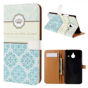 Wallet Leather Stand Cover Case for Microsoft Lumia 640 XL / Dual SIM - Crown and Flowers