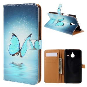 Magnetic Leather Stand Cover for Microsoft Lumia 640 XL / Dual SIM - Blue Butterfly