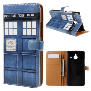 Magnetic Leather Stand Case for Microsoft Lumia 640 XL / Dual SIM - Police Public Call Box