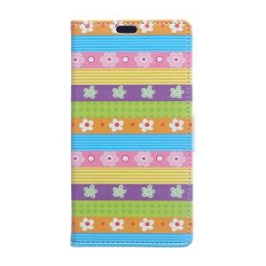 PU Leather Stand Case for Microsoft Lumia 540 Dual Sim - Colorful Stripes Flowers